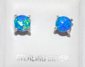 Opal Blue Stud 5mm .925 Sterling Silver Push Back Earrings - Opal Blue Silver Studs