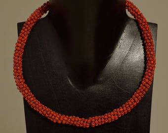 Necklace Indonesian Red Glass Beaded Handmade Glass Beaded Necklace Jewelry