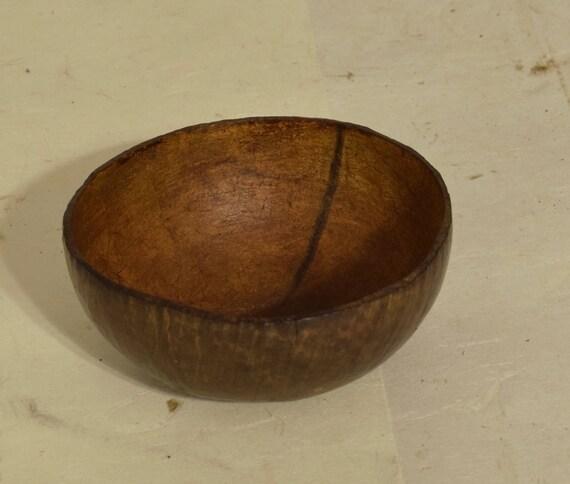 Philippines Ifugao Round Coconut Bowl Burnished Wood Handmade Rice Food Coconut Cup Bowl Wood Status Bowl