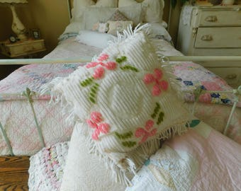 Vintage Charming Chenille Rose Pillow