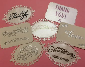 Beautiful Handmade Embossed Card Toppers Card Making Scrapbooking Beautiful Sentiments Mixed Or Choose Colour
