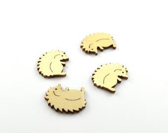 Embellishment Hedgehog wooden blank set of 4