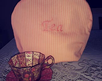 Peach and white stripe with TEA embroidered tea cozie handmade pinklady cottage