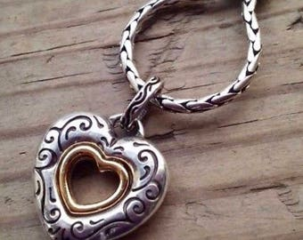 Brighton jewelry etsy sale vintage brighton heart necklace reversible two tone silver open heart pendant lovely mozeypictures Images