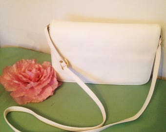 White Clutch Bag, Leather Shoulder Bag, Detachable straps, Wedding, Evening, Party