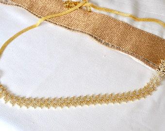 Waist belt cubic zirconia white stone gold plated  | south Indian bridal bridesmaids wedding Jewelry | CZ Jewellery |American dIamond AD