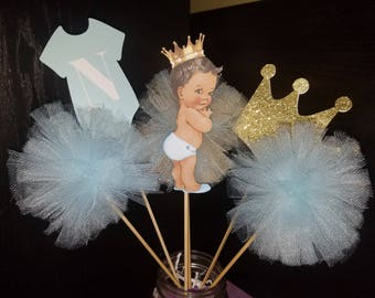 Prince Centerpiece Onesie Mason Jar Crown Gold Blue Baby Shower Christening Welcoming 1st Birthday PLEASE READ LISTING! Set of 6 pc.