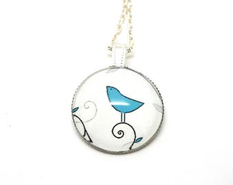 Collier mi long cabochon glass Blue Bird on a white background