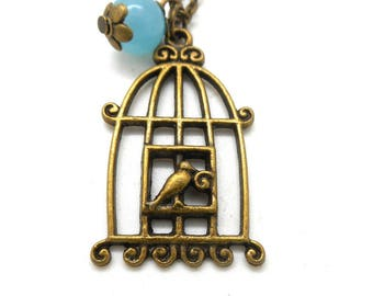 Natural Blue Pearl caged bird necklace