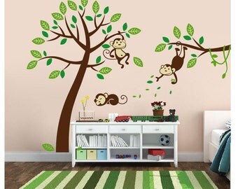 Wall Decals Nursery - Nursery wall decal - Monkey Decal-Tree and Monkeys Decals - Baby Tree Decal - Monkey Decal
