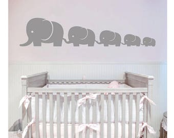 Nursery Wall Decals 5 Elephant Family Decal, Nursery Elephant Wall Decal, Baby Boy or Girl Family Vinyl Wall Decal- Children Wall Decal