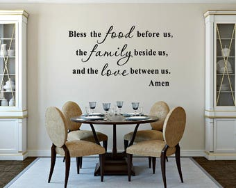Kitchen Decals - Bless The Food Before Us Wall Decal - Kitchen Vinyl Decal