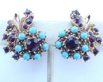 Florenza clip on earrings garnet red rhinestones turquoise blue cabochons AB043