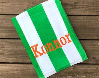 beach beach towelboys monogram beach towelpool towel green - Monogrammed Beach Towels