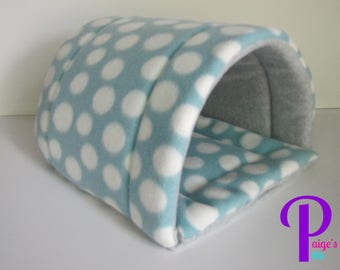 Fleece Hidey House for Guinea Pigs, Ferrets, Hedgehogs, etc.   Blue Polka Dot with Grey