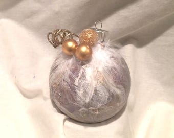 Gold  White Marble Hand  Swirl Painted Glass Ball Christmas Ornament Feather Top