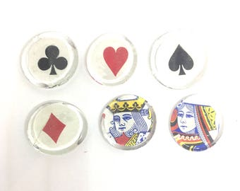 Playing Card Glass  Magnets King Queen Heart Diamond Club Spade