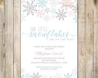 LITTLE SNOWFLAKES On The Way Baby Shower Invitation, Blue Pink Silver Holiday Baby Boy Shower Invite, Winter Baby Shower, Twins Baby Shower