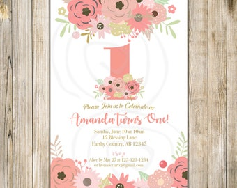 PINK FLORAL 1st BIRTHDAY Invitation, Blush Pink First Birthday Invite, Girl 1st Birthday, Girls One Birthday, Rustic Floral Birthday Tea