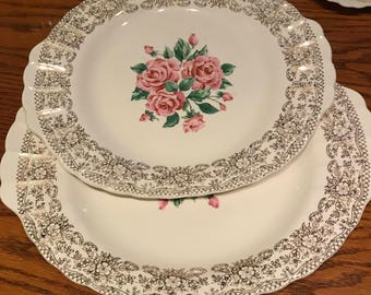 Vintage Sebring Pottery Co. China Bouquet 22K Gold Trim Rose Pattern Two Serving Platters Made in the USA 1940's-1950's
