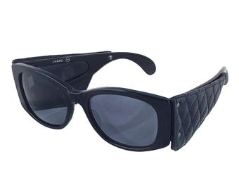 Chanel Rare Quilted Leather 1988 Sunglasses