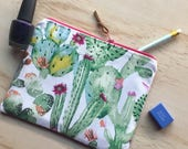 Flowering cactus zippered pouch / clutch / pencil case
