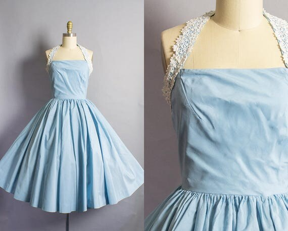 1950s Blue Cotton Halter Dress/ Extra Small (32B/25W)