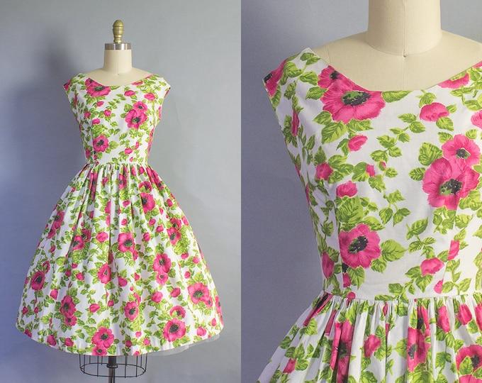 1950s Pink Floral Dress/ Medium (38b/29w)