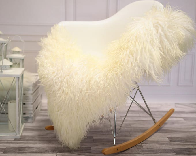 Genuine Rare Mongolian Sheepskin Rug - Curly Fur Rug - Natural Sheepskin - Ivory Sheepskin #DECGOT27