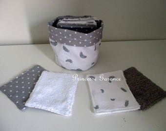 Birthday, mothers day * 12 wipes washable, cotton, Terry, and small matching pouch - baby or MOM