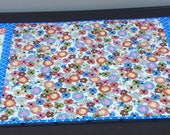 Handmade quilted table runner - flower garden theme