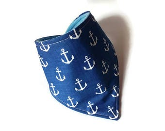 nautical bandana toddler bandana baby boy drool bib bandana absorbent organic bib reversible bib navy blue bib anchor bib toddler gift boys