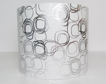 White and Silver Geometric Lampshade