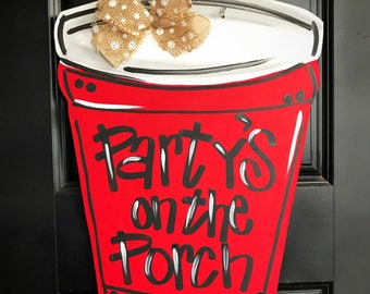 Summer Door Hanger- Solo Cup Door Hanger- Red Solo Cup Decorations- Red Solo Cup Door Hanger- Summer Door Decor- Red Solo Cup Decor