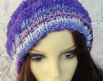 Hand Knitted Women's Two Style Random Purple Winter Hat With A white Faux Fur Pompom - Free Shipping