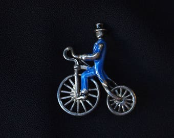 Antique Bicycle Pin,Old Brooch,Unicycle Pin,Enamel Pin