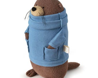 "Made-to -order Small 11"" Organic Stuffed Otter (Made in 1-2 weeks) - Fat Otter Stuffed Animal Eco Friendly and Ethically Made"