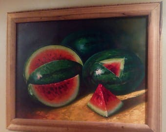 Oil Painting Framed in Wood..Watermelons..so Real You can Smell Them