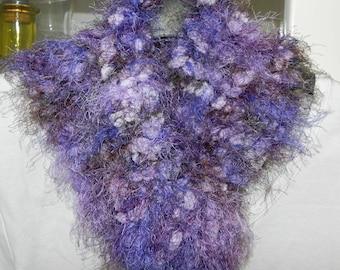 Handmade crochet triangle scarf shades of blue