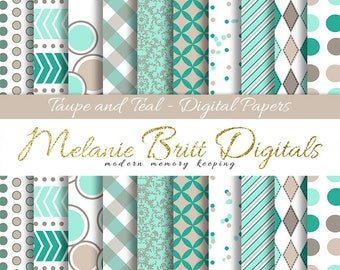 TAUPE and TEAL digital paper pack, scrapbook pattern papers, chevron, dots, stripes, damask, argyle, printable paper pdf, instant download