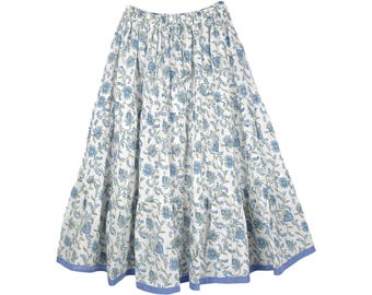 Hydrangea Blue Cotton Summer Knee Length Skirt