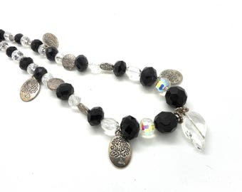 Necklace silver, black beads and charms
