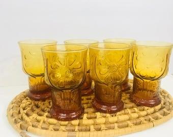 Vintage Amber Glasses // Libbey Country Garden Daisy // Boho Glassware // 1970s