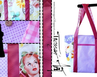 Tote bag - Pinup pin up Vintage purple Rockabilly polka dot pink gingham - fabric and faux leather
