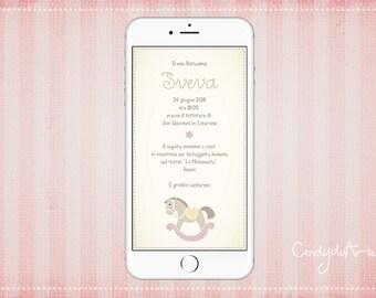 Invitation For Baptism Sms. Digital baptism invitation Whatsapp rocking pony sms baby christening