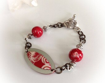 Bracelet, red, white, silver, chain, polymer clay.
