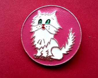 Cat Pin. Vintage collectible childrens soviet pin badge. / Made in USSR, 1980s