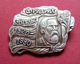 Friedrich Engels Pin. Vintage collectible badge, Pin, Russia, Soviet Union, Made in USSR, 1970s