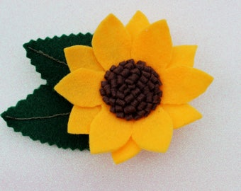 Beautiful felt sunflower headband, hair clip or brooch flower crown baby photo gift hair accessories