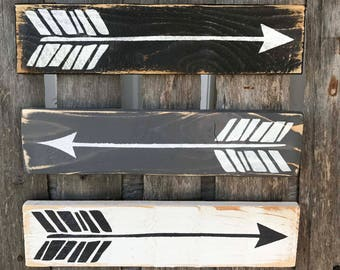 Farmhouse Arrow Signs, Arrow Decor, Farmhouse Home Decor, Nursery Decor, Primitive Arrow Signs, Rustic Decor, Black grey and white Arrows
